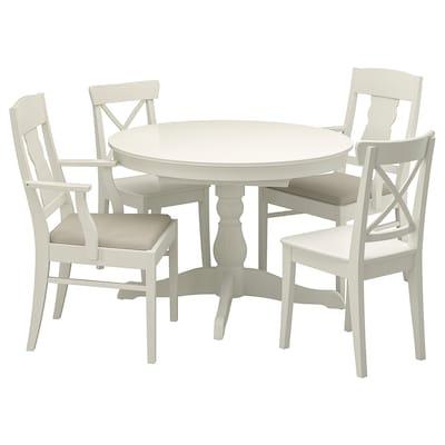 INGATORP / INGOLF Bord och 4 stolar, vit/Nordvalla beige, 110/155 cm