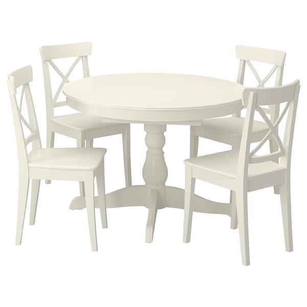 INGATORP / INGOLF Bord och 4 stolar, vit/vit, 110/155 cm