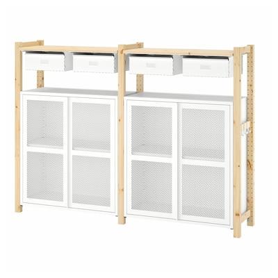 IVAR 2 sektioner/hyllor/skåp, furu/vit nät, 175x30x124 cm