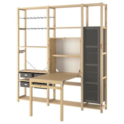 IVAR 3 sek/förvmöbel m fällbart bord, furu/grå mesh, 219x30-104x226 cm