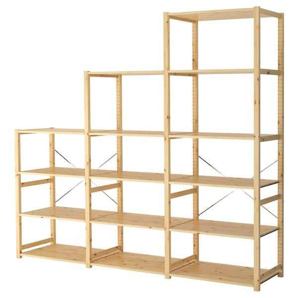 IVAR 3 sektioner/hyllor, furu, 259x50x226 cm