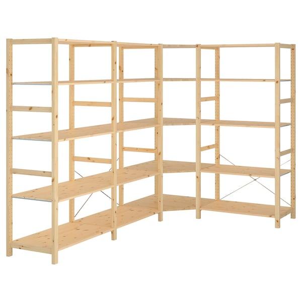 IVAR 4 sektioner/hörn, furu, 249/164x50x179 cm