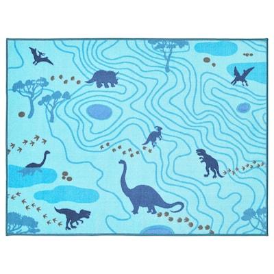 JÄTTELIK Matta, Dinosauriesiluetter/blå, 100x133 cm