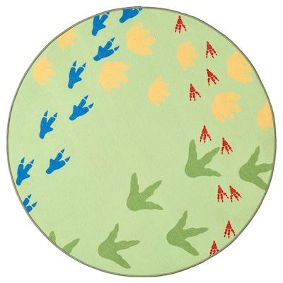 JÄTTELIK Matta, slätvävd, Dinosauriespår/grön, 100 cm