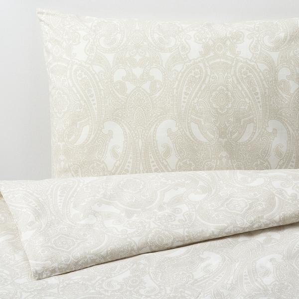 JÄTTEVALLMO Påslakan 1 örngott, vit/beige, 150x200/50x60 cm