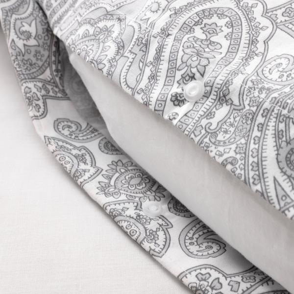 JÄTTEVALLMO Påslakan 1 örngott, vit/grå, 150x200/50x60 cm