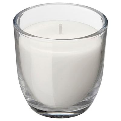 JUBLA Ljus i glas utan doft, vit, 7.5 cm