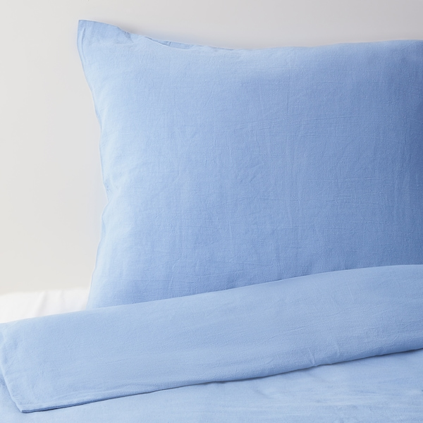 JULSTJÄRNA Påslakan 2 örngott, ljusblå, 240x220/50x60 cm