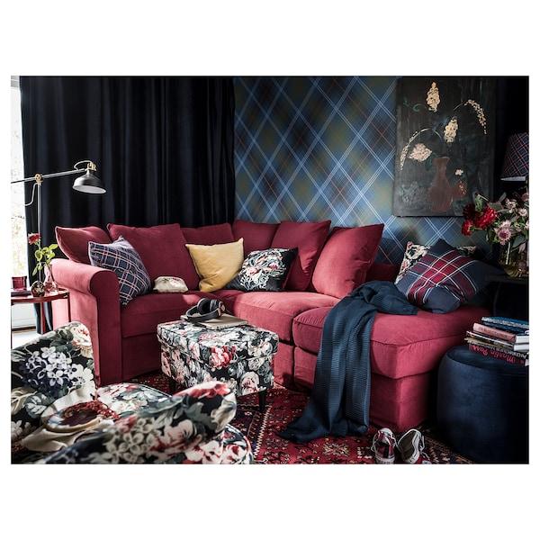 JUNHILD Kuddfodral, blå/röd, 50x50 cm