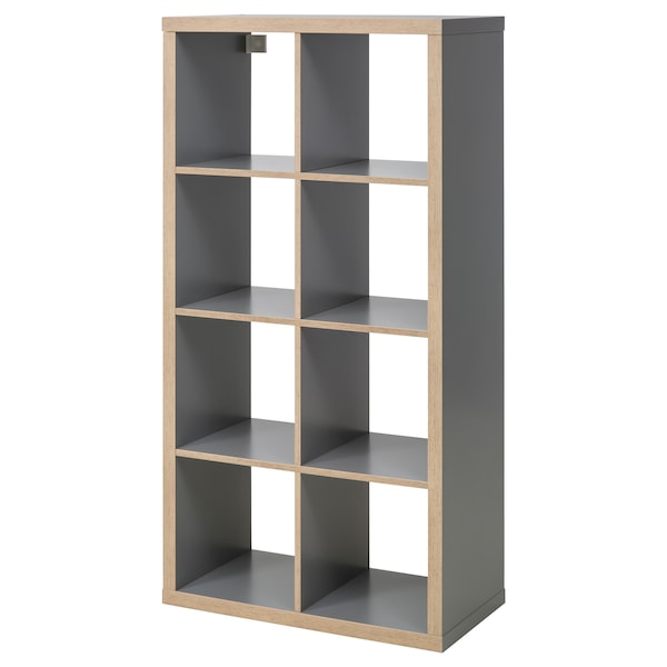 KALLAX Hylla, grå/trämönstrad, 77x147 cm