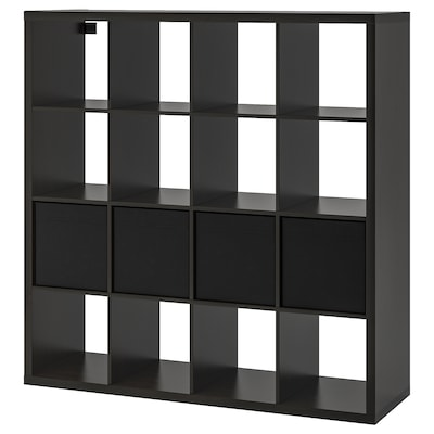 KALLAX Hylla med 4 insatser, svartbrun, 147x147 cm