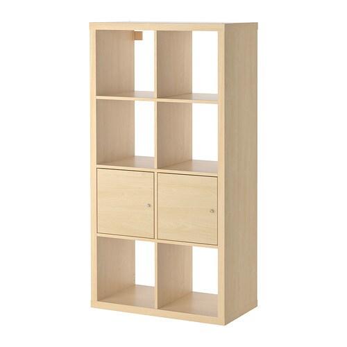 KALLAX Hylla med dörrar björkmönstrad IKEA