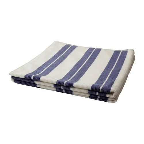 KALVSJÖN Badhandduk , vit, blå Längd: 140 cm Bredd: 70 cm Yta: 0.98 m² Ytvikt: 550 g/m²