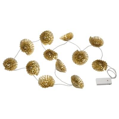 KARISMATISK LED ljusslinga med 12 ljus, inomhus/batteridriven guldfärgad