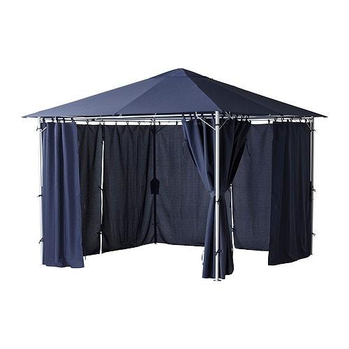 KARLSÖ Paviljong med gardiner IKEA Textilen är vattenavvisande och den har ett utmärkt UV-skydd (min.  97,5 av UV-strålningen blockeras).
