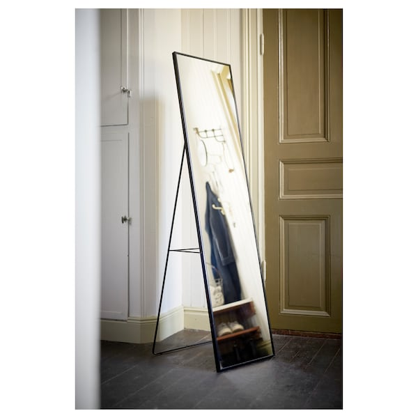 KARMSUND Golvspegel, svart, 40x167 cm