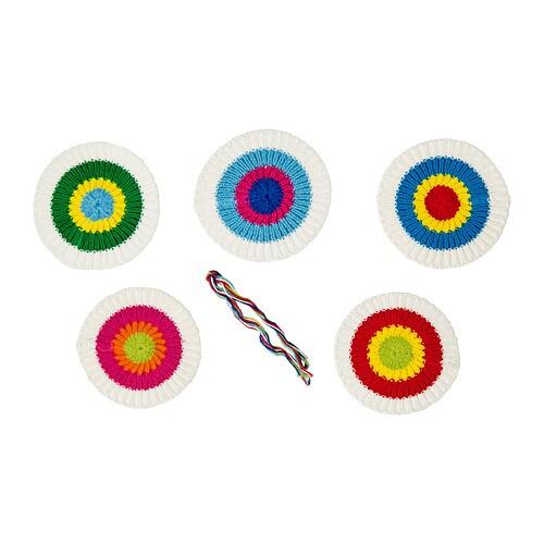 KÄRRNÄVA Textila dekoration , blandade färger Längd: 10 cm Bredd: 10 cm Antal i förpackning: 5 styck