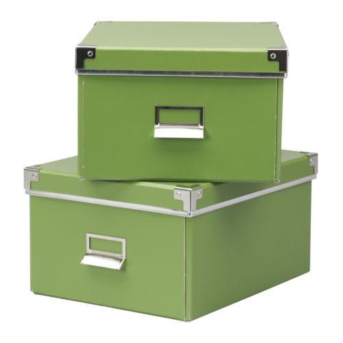 KASSETT Låda med lock för papper grön Bredd: 28 cm Djup: 35 cm Höjd: 18 cm Antal i förpackning: 2 styck