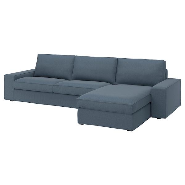 KIVIK 4-sitssoffa med schäslong, Gunnared blå