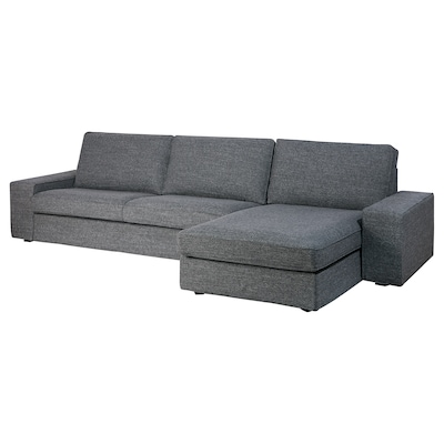 KIVIK 4-sitssoffa, med schäslong/Lejde grå/svart