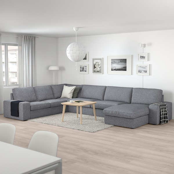 KIVIK Hörnsoffa, 6-sits, med schäslong/Lejde grå/svart