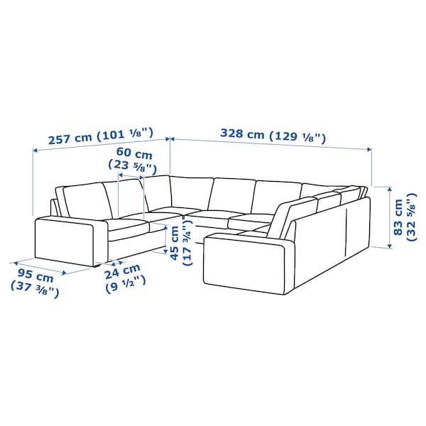 KIVIK U-formad soffa, 6-sits, Lejde grå/svart