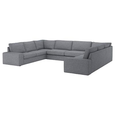 KIVIK u-formad soffa, 7-sits Lejde grå/svart 368 cm 257 cm 83 cm 24 cm 60 cm 45 cm