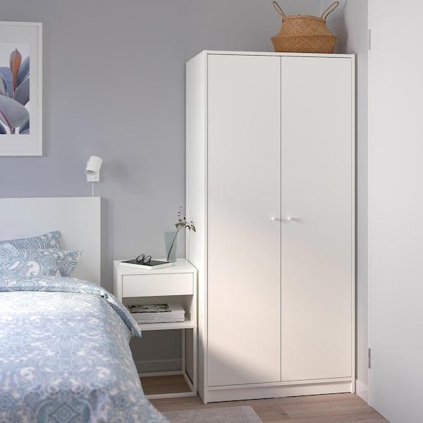 KLEPPSTAD Garderob med 2 dörrar, vit, 79x176 cm