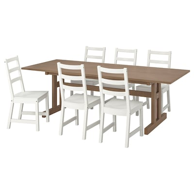 KLIMPFJÄLL / NORDVIKEN Bord och 6 stolar, gråbrun/vit, 240x95 cm
