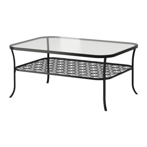 KLINGSBO Soffbord , svart, klarglas Längd: 116 cm Bredd: 78 cm Höjd: 49 cm