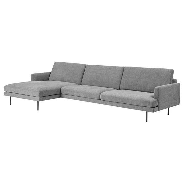 KLINTORP 4-sitssoffa, med schäslong, vänster grå