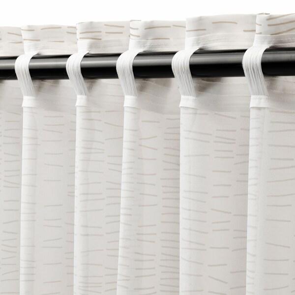 KLÖVERALM Gardiner, 1 par, vit/beige, 145x250 cm