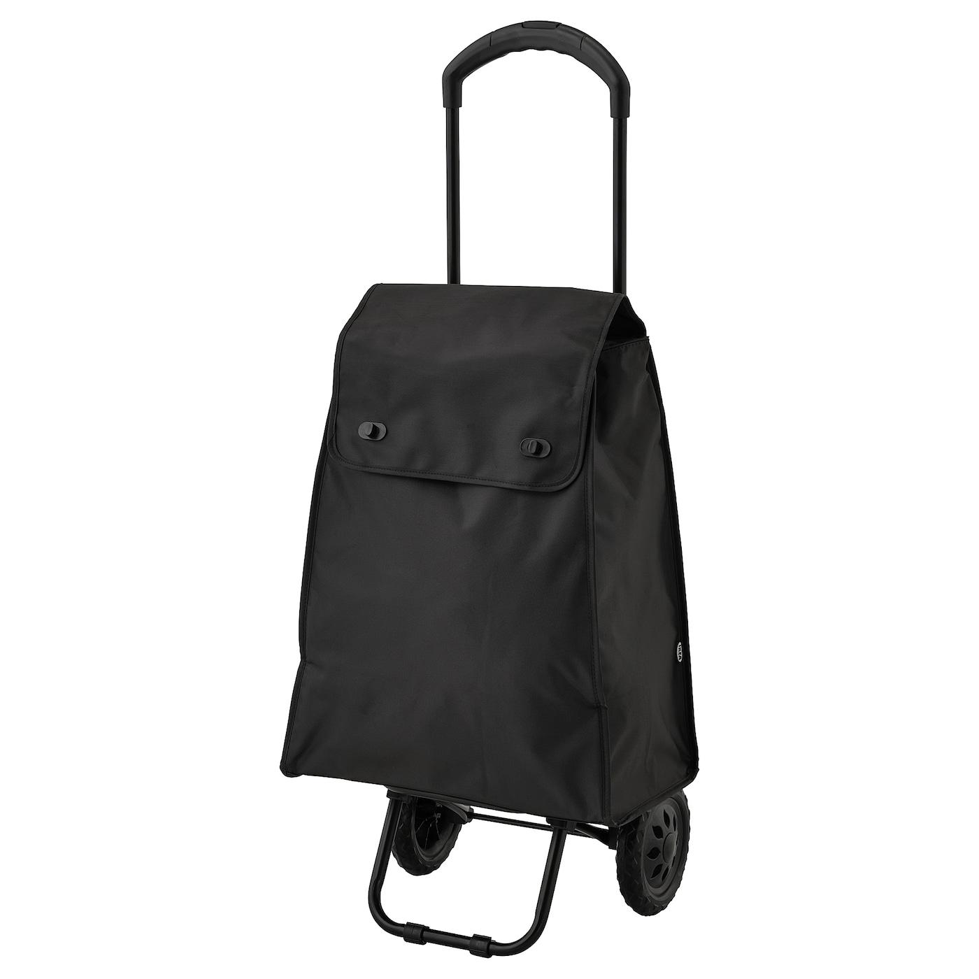 KNALLA Shoppingväska på hjul svart