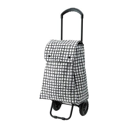 KNALLA Shoppingväska på hjul svart vit IKEA