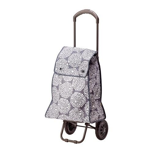 KNALLA Shoppingväska på hjul grå vit, IKEA