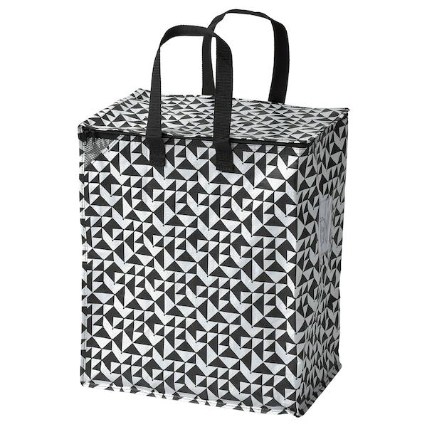 KNALLA Väska, svart/vit, 47 l