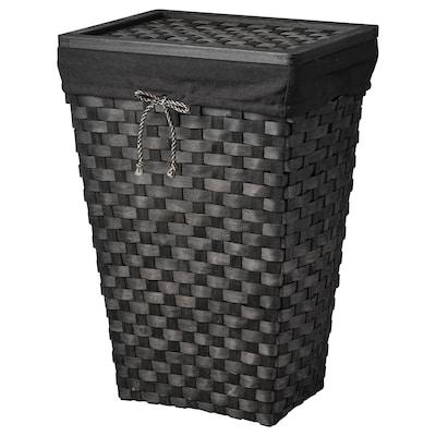 KNARRA Tvättkorg med klädd insida, svart/brun