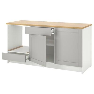 KNOXHULT Bänkskåp med dörrar och låda, grå, 180 cm