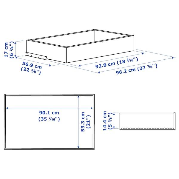 KOMPLEMENT Låda med glasfront, vitlaserad ekeffekt, 100x58 cm