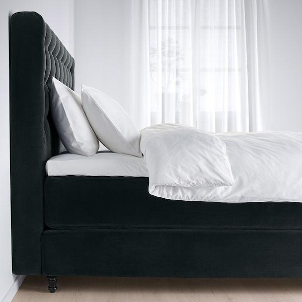 KONGSFJORD Kontinentalsäng, Vatneström medium fast/Tistedal Djuparp mörkgrå, 180x200 cm