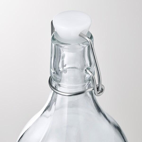 KORKEN Flaska med kork, glas/tryckt, 1 l