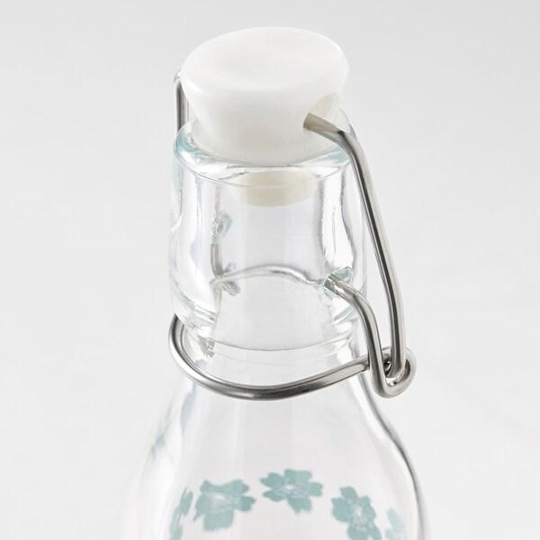 KORKEN Flaska med kork, mönstrad, 15 cl