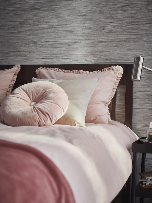 KRANSKRAGE Påslakan 1 örngott, ljusrosa, 150x200/50x60 cm