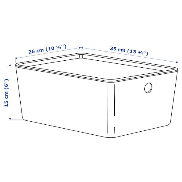 KUGGIS Låda med lock, vit, 26x35x15 cm