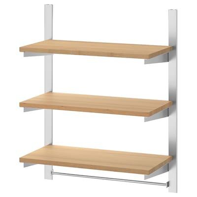 KUNGSFORS Upphängningsskena m hyllor o stång, rostfritt stål/bambu