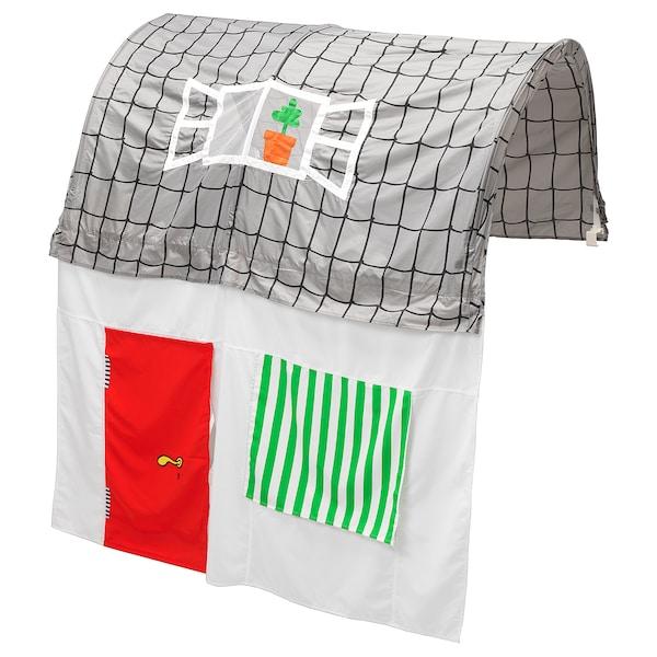 KURA sängtält med gardin grå/vit 160 cm 97 cm 68 cm