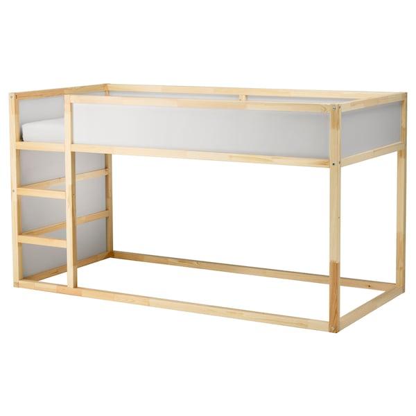 KURA Vändbar säng, vit/furu, 90x200 cm