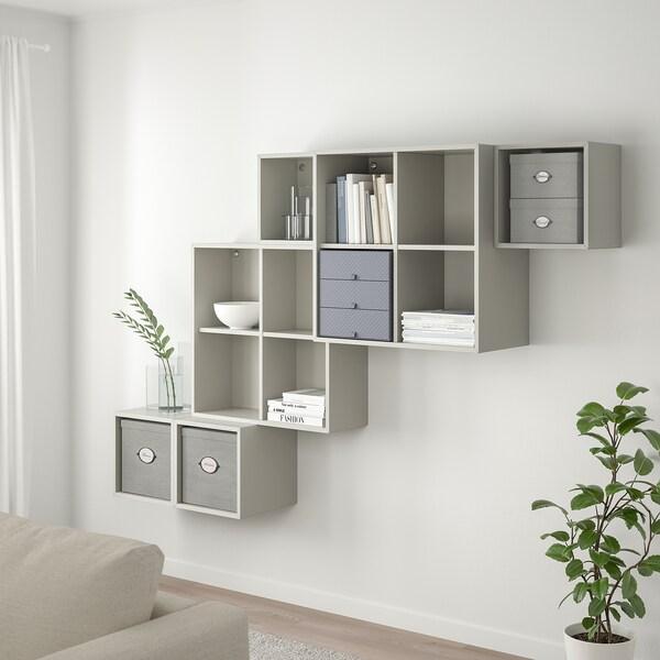 KVARNVIK Förvaringslåda med lock, grå, 18x25x15 cm