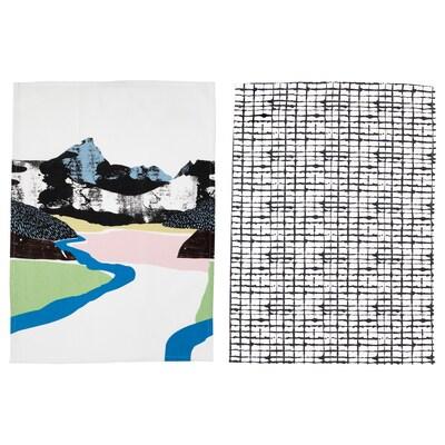 LACKTICKA Kökshandduk, landskap/mönstrad, 50x70 cm