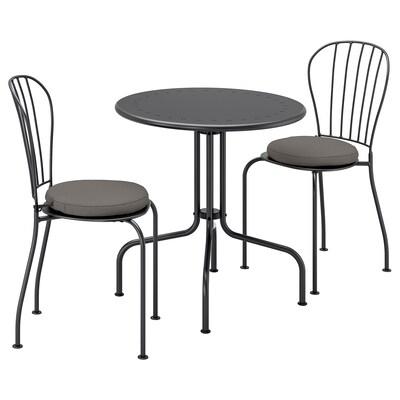 LÄCKÖ Bord+2 stolar, utomhus, grå/Frösön/Duvholmen mörkgrå